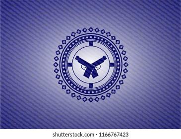 crossed pistols icon with jean texture