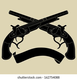 Crossed pistols with ribbon silhouette