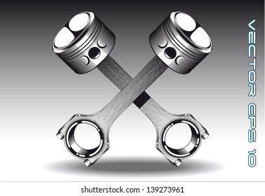 Crossed piston vector illustration isolated in black & white