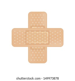 crossed plasters isolated on white background