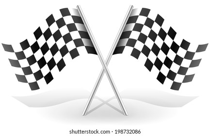 Crossed  racing flags in space with shadow(s)