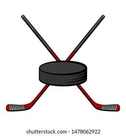 Crossed red hockey sticks and puck. Vector cartoon illustration