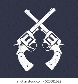 crossed retro revolvers on dark background with pattern