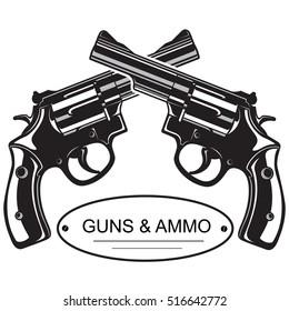 Crossed Revolver Pistols as an emblem logo template.