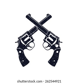 Crossed Revolvers grunge sign vector illustration, eps10, easy to edit