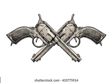 Crossed Revolvers. Vintage guns hand-drawn. Gun shop. Whodunit. Sketch Gun, firearms vector illustration