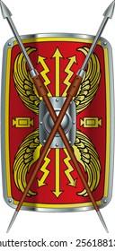 crossed roman pilum spear over scutum shield