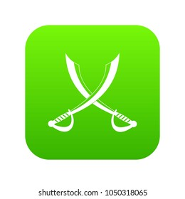 Crossed sabers icon digital green for any design isolated on white vector illustration