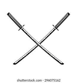 Crossed Samurai Swords isolated on white background Vector illustration