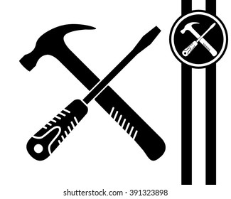 crossed screwdriver and hammer - black and white vector icon