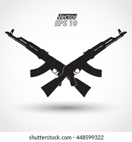 crossed silhouette AK47 assault riffle symbol /vector illustration