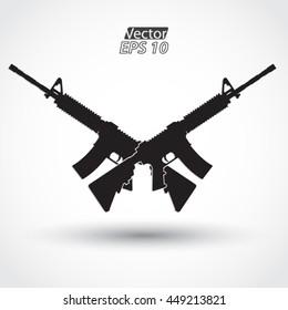 crossed silhouette assault rifle m4 / vector illustration