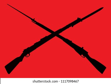 Crossed Soviet and German rifles on the red background