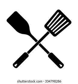 crossed spatula and slotted kitchen spoon vector icon