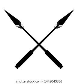 Crossed Spear Vector illustration Silhouette