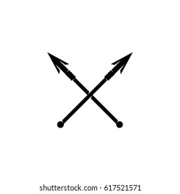 Crossed spears icon. Vector logo illustration isolated sign symbol