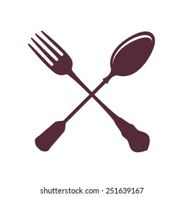 Crossed Spoon with Fork isolated on white Background vector illustration