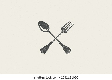 Crossed spoon and fork silhouette for food service hand drawn stamp effect vector illustration. Vintage grunge texture emblem for package and menu design or label decoration.