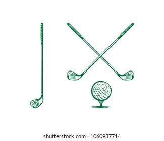 Crossed Stick Golf Ball Hand Drawn Sign Symbol Icon Logo Vector