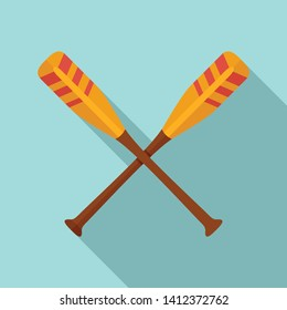 Crossed striped oars icon. Flat illustration of crossed striped oars vector icon for web design