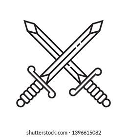 Crossed Sword Icon Symbol - Vector