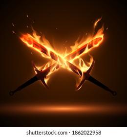 Crossed swords in fire flames