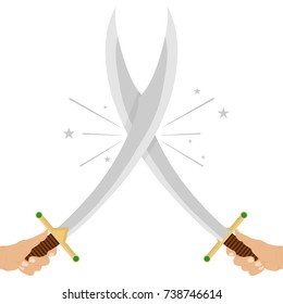 Crossed swords. The hand holds the sword. Flat design, vector illustration, vector.