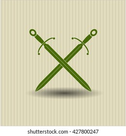 crossed swords icon vector symbol flat eps jpg app