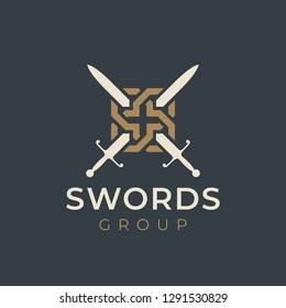 Crossed swords logo icon. Sword crests. Vector heraldry design.