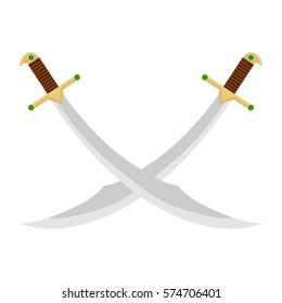 Crossed Swords, swords, sabers, swords, sabers icon, edged weapons. Flat design, vector illustration, vector.