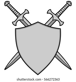 Crossed Swords and Shield Illustration