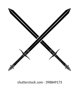 Crossed Swords Silhouette on White Background. Medieval Weapons. Collection of Vector Edged Weapons