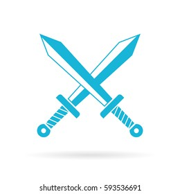 Crossed swords vector eps icon illustration on white background