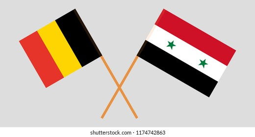 Crossed Syrian National Coalition and Belgium flags. Official colors. Correct proportion. Vector illustration