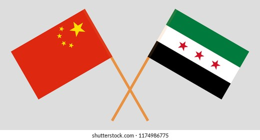 Crossed Syrian National Coalition and China flags. Official colors. Correct proportion. Vector illustrationn