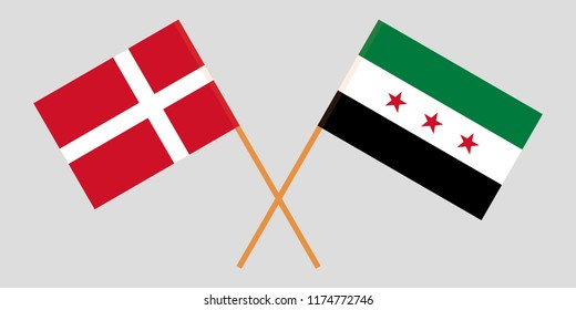 Crossed Syrian National Coalition and Denmark flags. Official colors. Correct proportion. Vector illustration