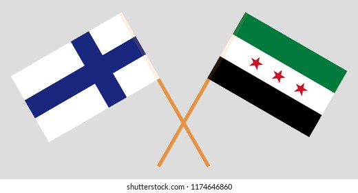 Crossed Syrian National Coalition and Finland flags. Official colors. Correct proportion. Vector illustration