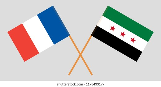 Crossed Syrian National Coalition and France flags. Official colors. Correct proportion. Vector illustration