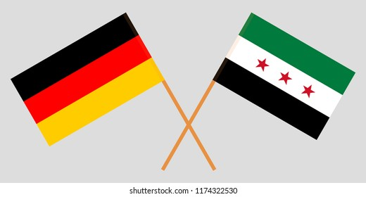 Crossed Syrian National Coalition and Germany flags. Official colors. Correct proportion. Vector illustration