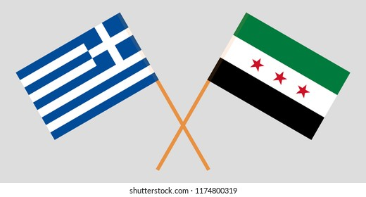 Crossed Syrian National Coalition and Greece flags. Official colors. Correct proportion. Vector illustration
