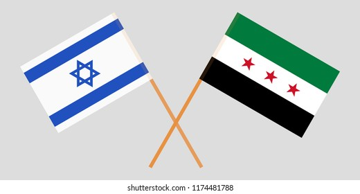 Crossed Syrian National Coalition and Israel flags. Official colors. Correct proportion. Vector illustration