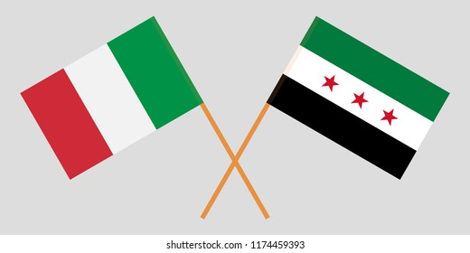 Crossed Syrian National Coalition and Italy flags. Official colors. Correct proportion. Vector illustration
