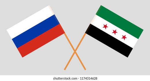 Crossed Syrian National Coalition and Russia flags. Official colors. Correct proportion. Vector illustration