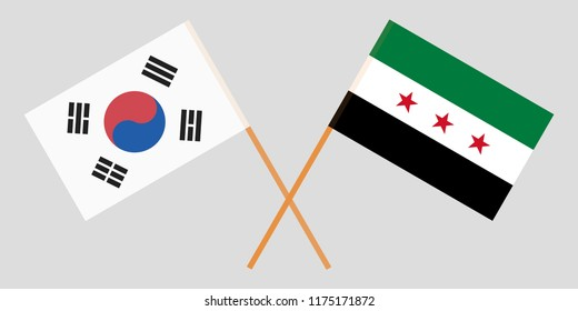Crossed Syrian National Coalition and South Korea flags. Official colors. Correct proportion. Vector illustration