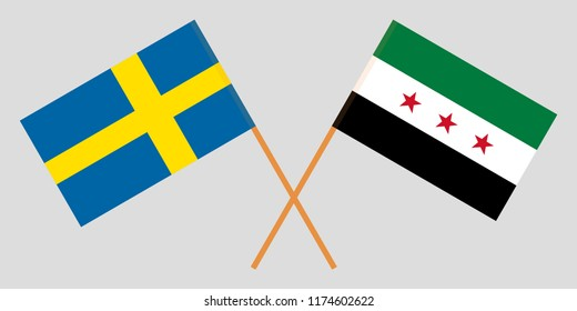 Crossed Syrian National Coalition and Sweden flags. Official colors. Correct proportion. Vector illustration