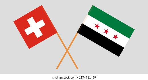 Crossed Syrian National Coalition and Switzerland flags. Official colors. Correct proportion. Vector illustration