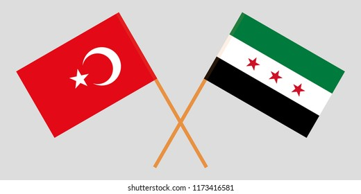 Crossed Syrian National Coalition and Turkey flags. Official colors. Correct proportion. Vector illustration
