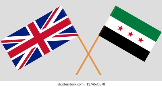 Crossed Syrian National Coalition and UK flags. Official colors. Correct proportion. Vector illustration