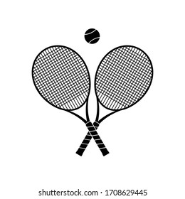 Crossed tennis rackets with tennis ball on white background