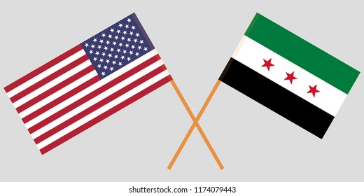 Crossed USA and Syrian National Coalition flags. Official colors. Correct proportion. Vector illustration